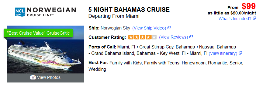 Cheap Cruise 5 Night Bahamas Cruise $99