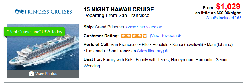 15 Night Hawaii Cruise $1029 (plus tax & dual occupancy)