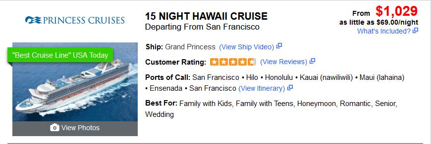 15 Night Hawaii Cruise $1029 (plus tax & dual occupancy)