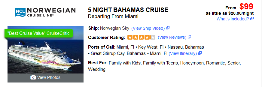 Cheap Cruise 5 Night Bahamas Cruise $99